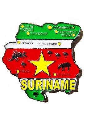 Imã Suriname - Mapa Suriname com Bandeira, Cidades e Símbolos