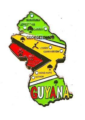 Imã Guiana - Mapa Guiana com Bandeira, Cidades e Símbolos