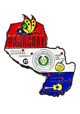Imã Paraguai - Mapa Paraguai com Bandeira, Cidades e Símbolos