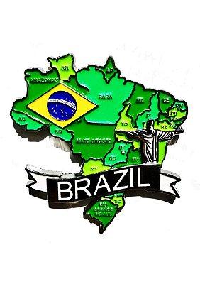 Imã Brasil - Mapa Brasil com Bandeira, Estados e Símbolos