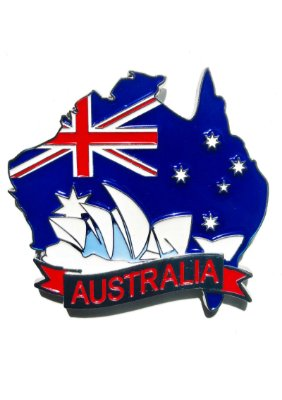 Imã Austrália - Mapa Austrália com Bandeira e Símbolo