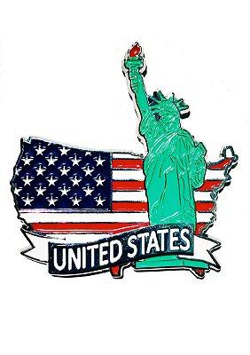Imã Estados Unidos - Mapa Estados Unidos com Bandeira e Símbolo