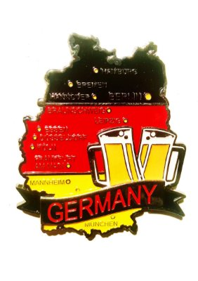 Imã Alemanha - Mapa Alemanha com Bandeira, Cidades e Símbolos