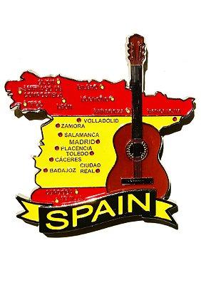 Imã Espanha - Mapa Espanha com Bandeira, Cidades e Símbolos