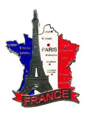 Imã França - Mapa França com Bandeira, Cidades e Símbolos