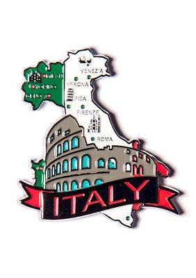 Imã Itália - Mapa Itália com Bandeira, Cidades e Símbolos