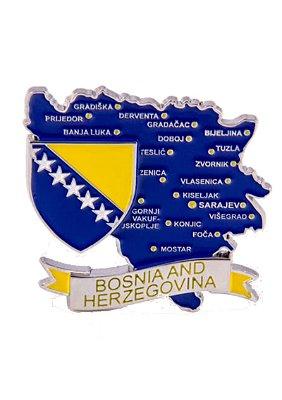 Imã Bósnia - Mapa Bósnia com Bandeira, Cidades e Símbolos