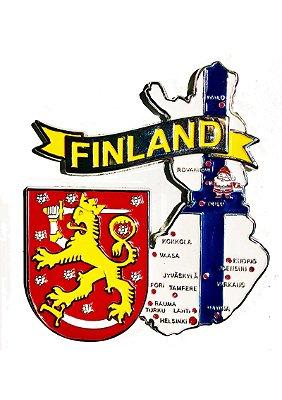 Imã Finlândia - Mapa Finlândia com Bandeira, Cidades e Símbolos