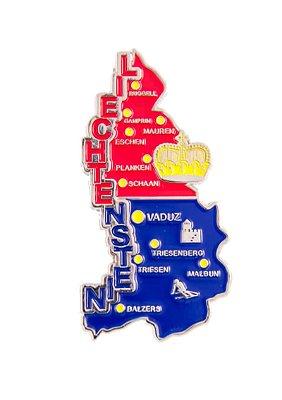 Imã Liechtenstein - Mapa Liechtenstein com Bandeira, Cidades e Símbolos