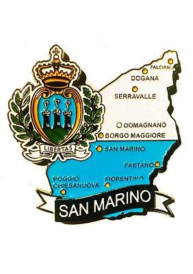 Imã San Marino - Mapa San Marino com Bandeira, Cidades e Símbolos