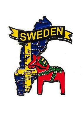Imã Suécia - Mapa Suécia com Bandeira, Cidades e Símbolos