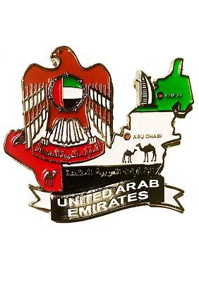Imã Emirados Árabes Unidos - Mapa  Emirados Árabes Unidos com Bandeira, Cidades e Símbolos