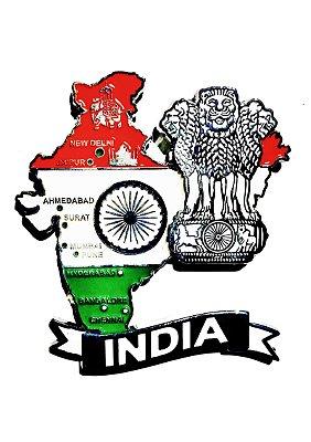 Imã India - Mapa India com Bandeira, Cidades e Símbolos