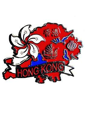Imã Hong Kong - Mapa Hong Kong com Bandeira e Símbolos