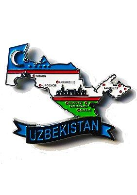 Imã Uzbequistão - Mapa Uzbequistão com Bandeira, Cidades e Símbolos