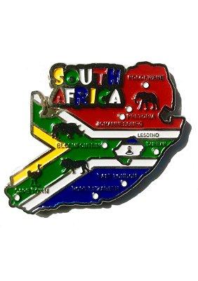 Imã Africa do Sul  - Mapa Africa do Sul com Bandeira, Cidades e Símbolos