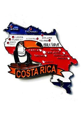Imã Costa Rica - Mapa Costa Rica com Bandeira, Cidades e Símbolos