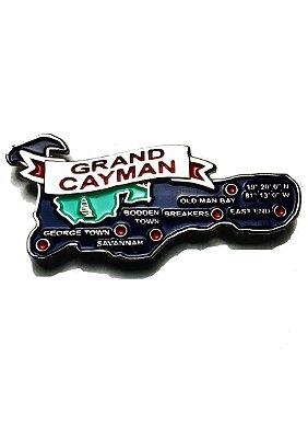 Imã Ilhas Cayman  - Mapa Ilhas Cayman com Bandeira, Cidades e Símbolos