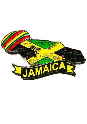 Imã Jamaica - Mapa Jamaica com Bandeira, Cidades e Símbolos
