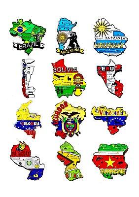 Kit com 03 (três) un. de Imãs de Mapas de Países com Bandeira, Cidades e Símbolos