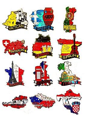 Kit com 05 (cinco) un. de Imãs de Mapas de Países com Bandeira, Cidades e Símbolos