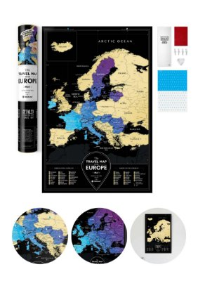 Mapa de Raspadinha Europa com Cidades 60x40