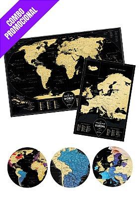 Combo - Mapa Raspadinha XXL Black Gold e Mapa da Europa com Cidades