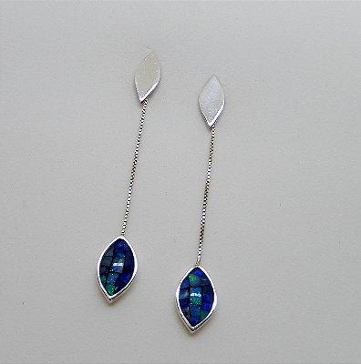 Brincos de Prata com Opalas Mosaico
