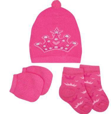 Kit Touca, luvas e meias tricô - Princesa
