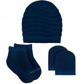 Kit Touca, luvas e meias tricô - Azul Marinho
