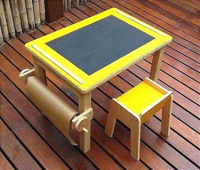 Mesa infantil multi atividades com banco - Modelo Cecy - Amarela