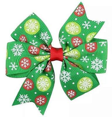 Laço - Natal Verde Flocos de Neve