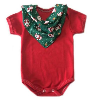 Conjunto de body vermelho e bandana papai noel