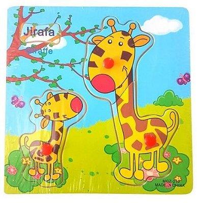 Quebra Cabeça Bilíngue em Madeira - Girafa