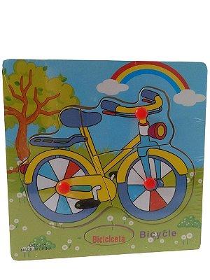 Quebra Cabeça Bilíngue em Madeira - Bicicleta
