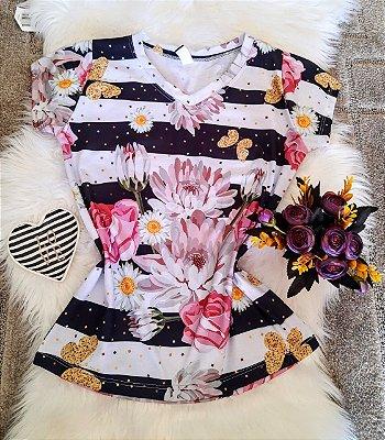 Camiseta Feminina Floral no Atacado Flores e Listras
