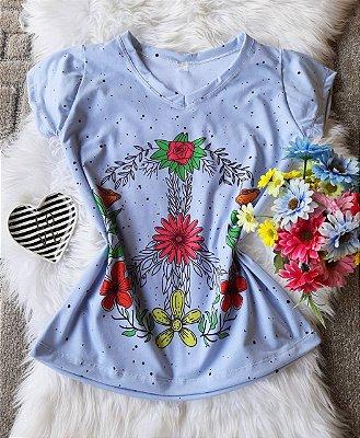 Blusa Feminina no Atacado Flores e Paz