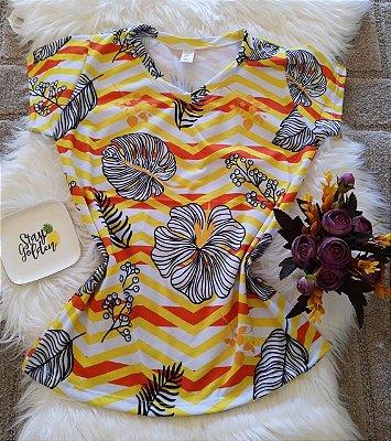Camiseta Feminina Floral no atacado Folhas e Listras
