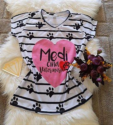 T shirt Feminina Profissão no Atacado Medicina Veterinária Listras