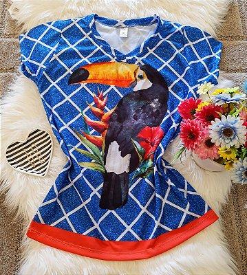 Blusa Feminina Estampa Animal no Atacado Tucano Fundo Xadrez