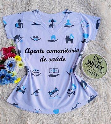 T shirt Feminina Profissão no Atacado Agente comunitário de saúde Elementos