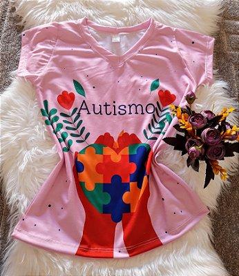 T shirt Feminina Profissão no Atacado Autismo Coração