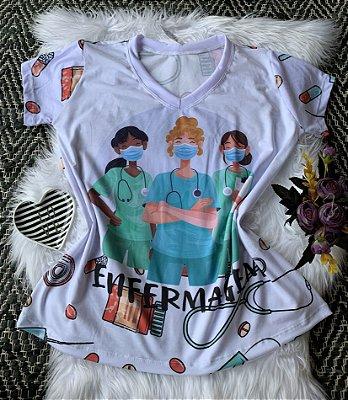 T shirt Feminina Profissão no Atacado Enfermagem