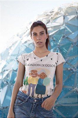 T shirt Feminina Profissão no Atacado Cuidadora de idosos