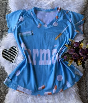 T shirt Feminina Profissão no Atacado Farmácia fundo Azul
