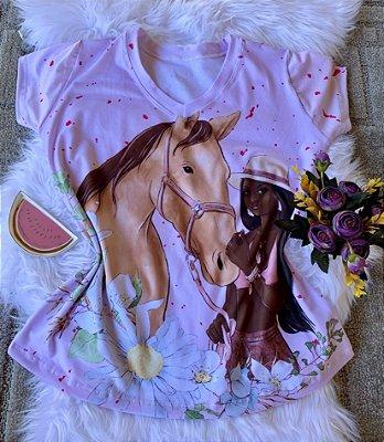 Blusa Feminina Estampa Animal no Atacado Cavalo e Mulher