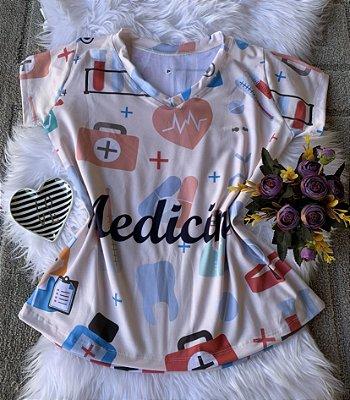 T shirt Feminina Profissão no Atacado Elementos Medicina