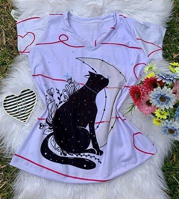 Blusa Feminina Estampa Animal no Atacado Gato Lua
