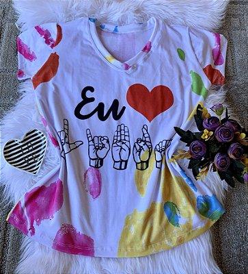 T shirt Feminina Profissão no Atacado Eu Amo Libras