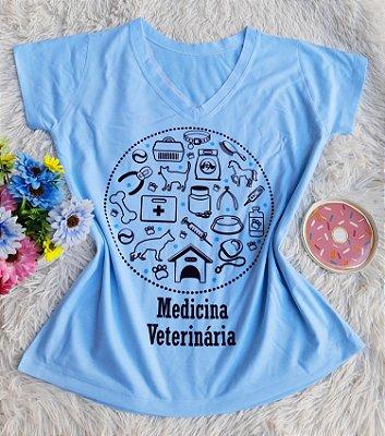 T shirt Feminina Profissão no Atacado Medicina Veterinária azul Claro